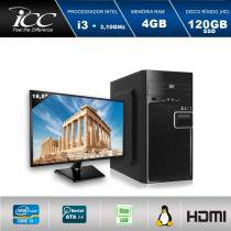 "Computador Desktop ICC IV2346DM18 Intel Core I3 3.10 ghz 4GB HD 120GB SSD DVDRW  HDMI FULL HD Monitor LED 18,5"" -"