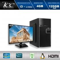 "Computador Desktop ICC IV2346SM18 Intel Core I3 3.10 ghz 4gb HD 120GB SSD HDMI FULL HD Monitor LED 18,5"" -"