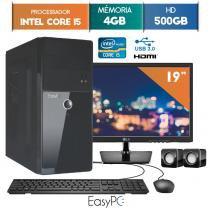 """Computador EasyPC Intel Core I5 4GB 500GB Monitor 19"""" LG 20M37A -"""