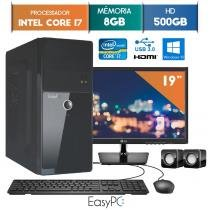 Computador EasyPC Intel Core I7 8GB 500GB Windows 10 Monitor 19 LG 20M37A -