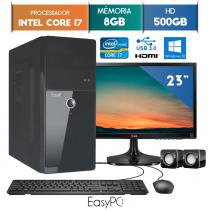 Computador EasyPC Intel Core I7 8GB 500GB Windows 10 Monitor 23 LG 23MP55 HQ -