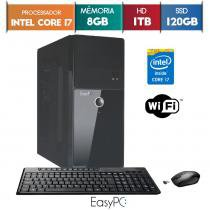 Computador EasyPC Intel Core i7 8GB HD 1TB e SSD 120GB Wifi mouse e teclado sem fio -