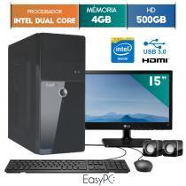 "Computador EasyPC Intel Dual Core 4GB 500GB Monitor 15"" LG 16M38A -"