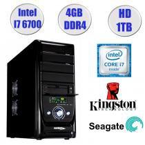 Computador Falcon Core i7-6700 6 Geração, 4GB DDR4, HD 1TB, DVD, Teclado e Mouse - Intel