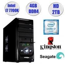 Computador Falcon Core i7-7700K 7 Geração, 4GB DDR4, HD 2TB, DVD, Teclado e Mouse - Intel