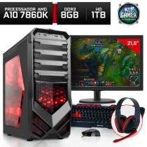 Computador Gamer Amd Quad Core A10 7860K 8GB Hyperx HD 1TB Monitor 21,5 Radeon R7 Neologic - Nli80125 -