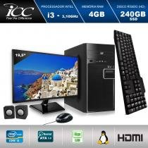 "Computador ICC IV2347CM19 Intel Core I3 3.10 ghz 4GB HD 240GB SSD DVDRW Kit Multimídia Monitor LED 19,5"" HDMI FULLHD -"