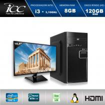 "Computador ICC IV2386DM18 Intel Core I3 3.10 ghz 8GB HD 120GB SSD DVDRW HDMI FULL HD Monitor LED 18,5"" -"