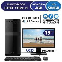 Computador Intel Core i3 3.3ghz, 4GB DDR3, 500GB, HDMI, áudio 5.1, Monitor LED 15.6 EasyPC Standard -