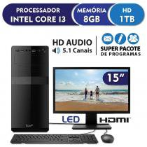 Computador Intel Core i3 3.3ghz, 8GB DDR3, 1TB, HDMI, áudio 5.1, Monitor LED 15.6 EasyPC Standard -