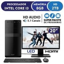 Computador Intel Core i3 3.3ghz, 8GB DDR3, 2TB, HDMI, áudio 5.1, Monitor LED 19.5 EasyPC Standard -