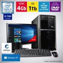 Computador + Monitor 19,5 Intel Core i3 7ª Geração 4GB HD 1TB DVD Windows 10 Certo PC SMART 028 -