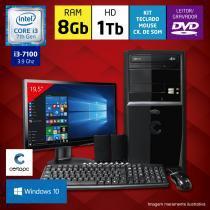 Computador + Monitor 19,5 Intel Core i3 7ª Geração 8GB HD 1TB DVD Windows 10 Certo PC SMART 051 -