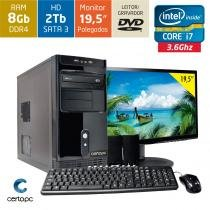 Computador + Monitor 19,5 Intel Core i7 8GB HD 2TB DVD Certo PC Desempenho 931 -