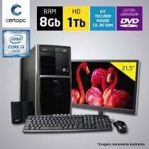 Computador + Monitor 21,5 Intel Core i3 7ª Geração 8GB HD 1TB DVD Certo PC SMART 052 -