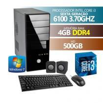 COMPUTADOR PREMIUM BUSINESS CORE I3 6100 6 GERACAO 4GB DDR4 HD 500GB WINDOWS 7  MOUSE,TECLADO,CAIXA - PREMIUM