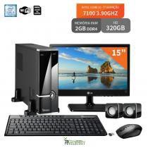 "Computador Slim Com Monitor 15"" LG Intel Core I3 7100 2Gb Ddr4 Hd 320Gb Wifi 3Green Evolution Fun New - 3green technology"