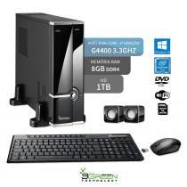 Computador Slim Dual Core G4400 8Gb Hd 1Tb Windows 10 Dvd Wifi 3Green Triumph Business Desktop New - 3green technology