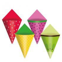 Cone de Papel Cartão Quitandinha 12 unidades Cromus - festabox