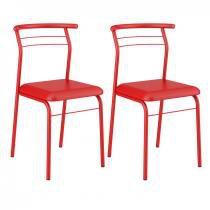 Conjunto 2 Cadeiras 1708 Tubular Carraro Vermelho Real -