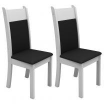 Conjunto 2 Cadeiras 4235M Madesa Branco/Preto - Madesa