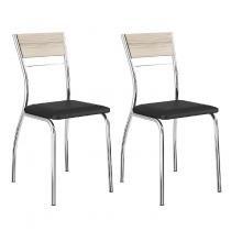 Conjunto 2 Cadeiras de Aço 1721 Carraro Anis/Preto/Cromado -