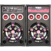 Conjunto 2 Caixas Amplificadas com MP3 FM Bluetooth 2 Microfones 500WRMS Entradas USB SD e Aux TRC-388  Preto -