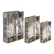 Conjunto 3 Caixas Organizadora Book Box Sao Paulo Calhambeque Cinza Oldway -