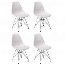 Conjunto 4 Cadeiras Charles Eames Eiffel Base Metal Design - Branca - Magazine Decor