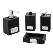 Conjunto 4 Peças para Banheiro Lux Black com Detalhe em Metal - LYOR DESIGN - Lyor