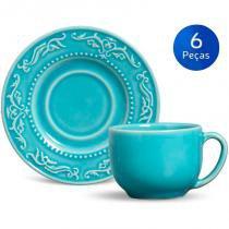 Conjunto 6 Xícaras de Chá com Pires Acanthus - Porto Brasil -