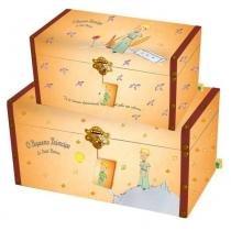 Conjunto Bau Pequeno Principe Vintage Original c/2 25cm x 50cm x 25cm Amarelo - Trevisan Concept -