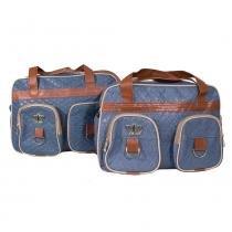 Conjunto Bolsa Nene Belo Discovery 2 peças Azul Jeans - ÚNICO - NENE BELO