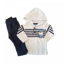 eda5b2a3c Conjunto Camiseta Meia Malha e Calça Cotton Jeans TMX Mescla   Tamanho P -
