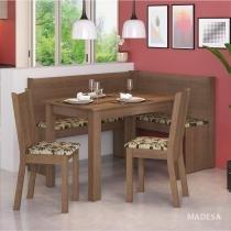 Conjunto Canto Alemão Mesa com Banco e 2 Cadeiras Liebe Madesa Rustic/Bege/Marrom -