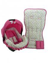 Conjunto Capa para Bebe Conforto com Acolchoado e Capa de Carrinho Floral Azul com Rosa - Alan pierre baby