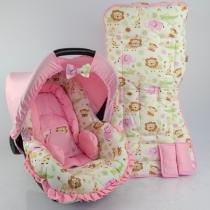 Conjunto Capa para Bebe Conforto com Acolchoado e Capa de Carrinho Safari Rosa Novo - Alan pierre baby