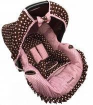 Conjunto Capa para Bebê Conforto Poa Rosa c Marrom com Acolchoado Extra - Alan pierre baby