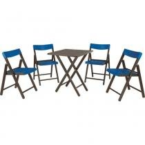 Conjunto com 1 mesa e 4 cadeiras de madeira tabaco e plástico azul - POTENZA - Tramontina - Tramontina