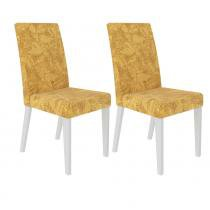 Conjunto com 2 Cadeiras 4129 Branco/Palha - Madesa - Marrom - Madesa