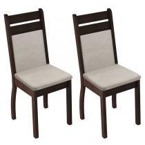 Conjunto com 2 Cadeiras Tabaco-Suéde Pérola - Madesa - Marrom - Madesa