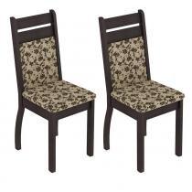Conjunto com 2 Cadeiras Tabaco/Tecido Floral-Bege Marrom - Madesa - Marrom - Madesa
