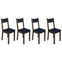 Conjunto com 4 cadeiras 4228A Imbuia/Preto - Madesa - Marrom - Madesa