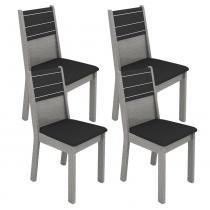 Conjunto com 4 Cadeiras Vega Carvalho/Cinza Assento e Encosto Estofados Preto - Madesa - Carvalho/Cinza - Madesa