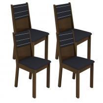 Conjunto com 4 Cadeiras Vega Imbuia com Assento e Encosto Estofados Preto - Madesa - Imbuia - Madesa