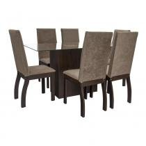 Conjunto Com Mesa e 6 cadeiras Slim Chocosoft - Abra Casa