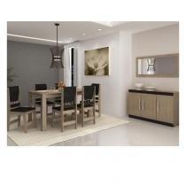 Conjunto Completo para Sala de Jantar com Mesa 6 Cadeiras Buffet e Espelho - Caramelho/Preto - CasaTema