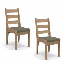 Conjunto de 2 Cadeiras de Madeira Nogal CAD104 Kappesberg Café - Kappesberg
