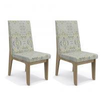 Conjunto de 2 Cadeiras Jibi Linho Folhas verdes - Kappesberg