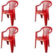 Conjunto de 4 Cadeiras Plásticas Poltrona Vinho - Antares -